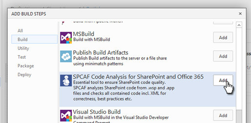 SPCAF | How to: Run SPCAF in a TFS 2015/VSTS TeamBuild